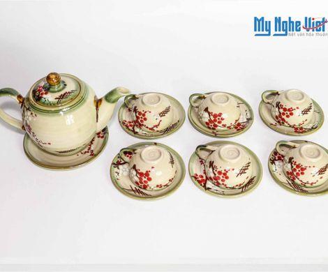 Bat Trang Tea set with Glossy Glaze and Peach Blossom Pattern MNV-TS029