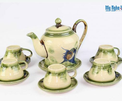 Ceramic tea set with fish painting MNV-TS065