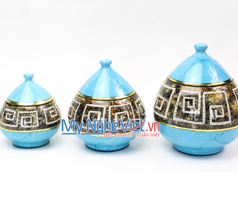 Triple of jar with blue pattern MNV-QT120/A