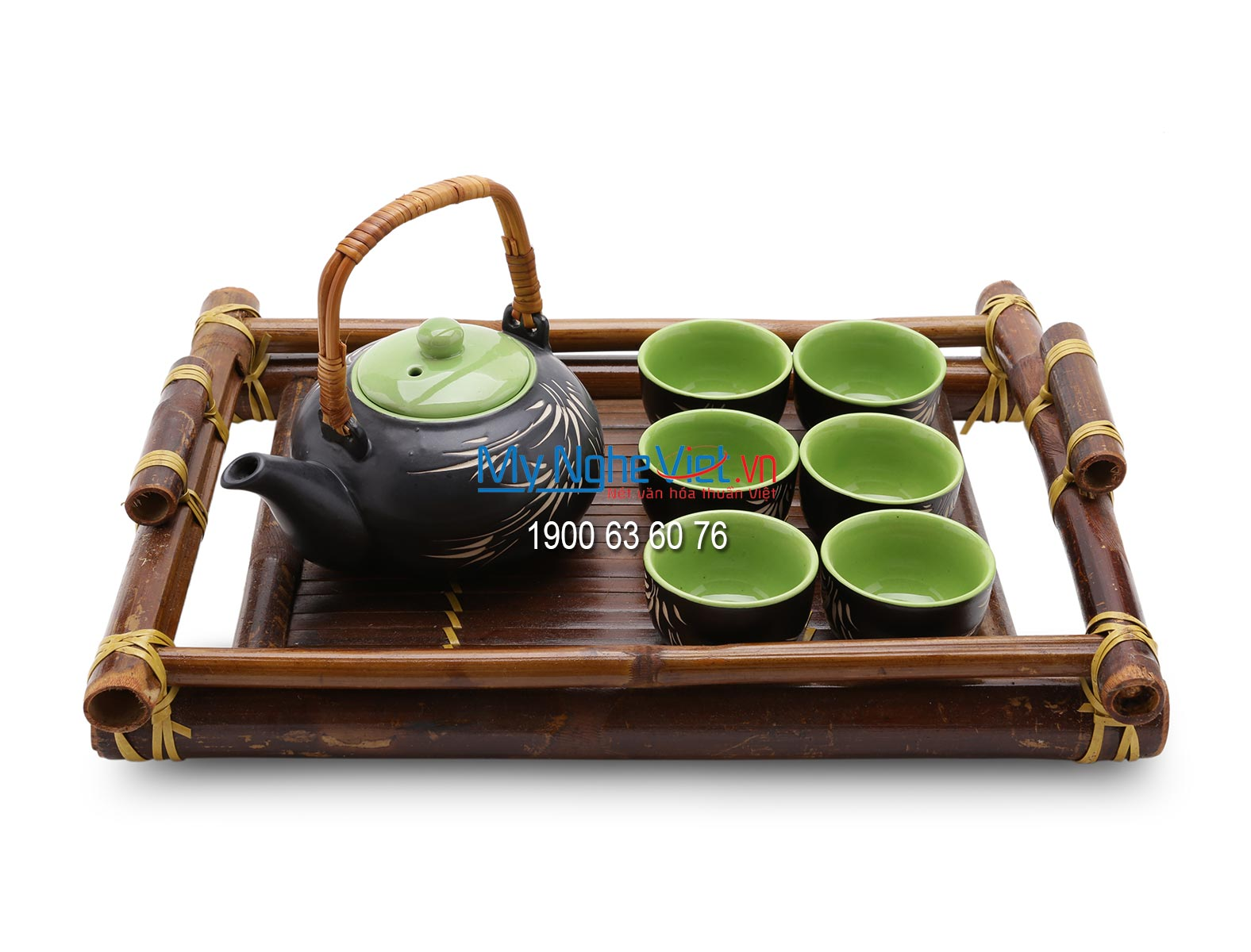 Bat Trang Tea set with Bamboo Pattern and Bamboo Tray MNV-TS062-2