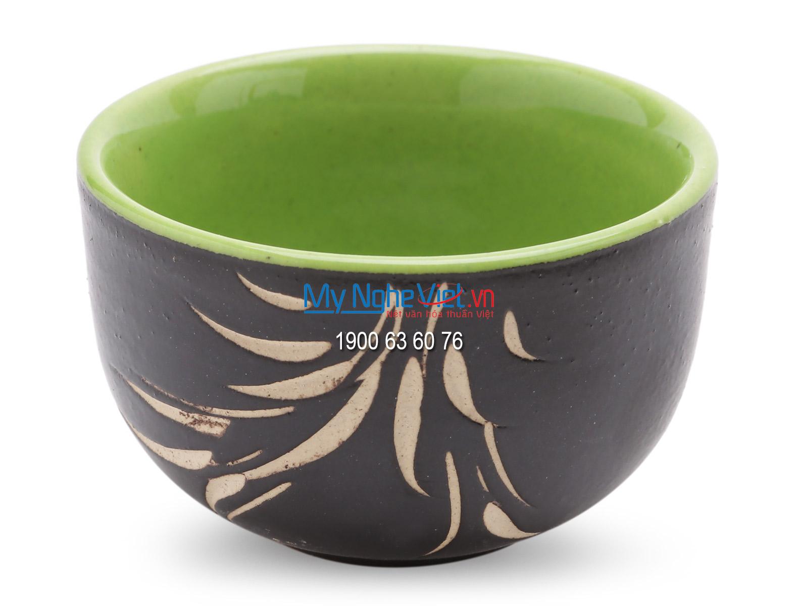 Bat Trang Tea set with Bamboo Pattern and Bamboo Tray MNV-TS062-2