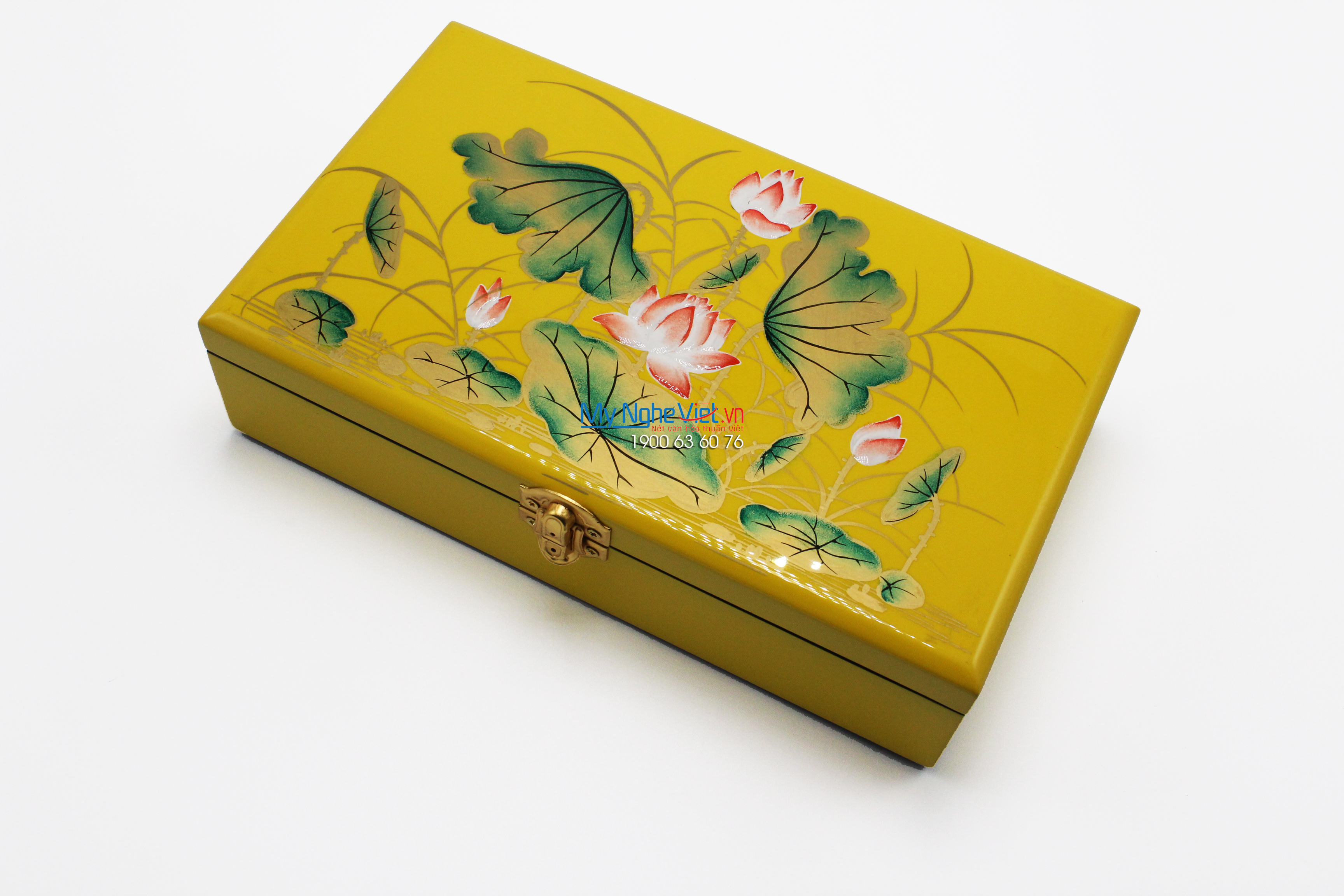 Lotus painting on the yellow surface lacquer Jewellery Box MNV-SPCC007