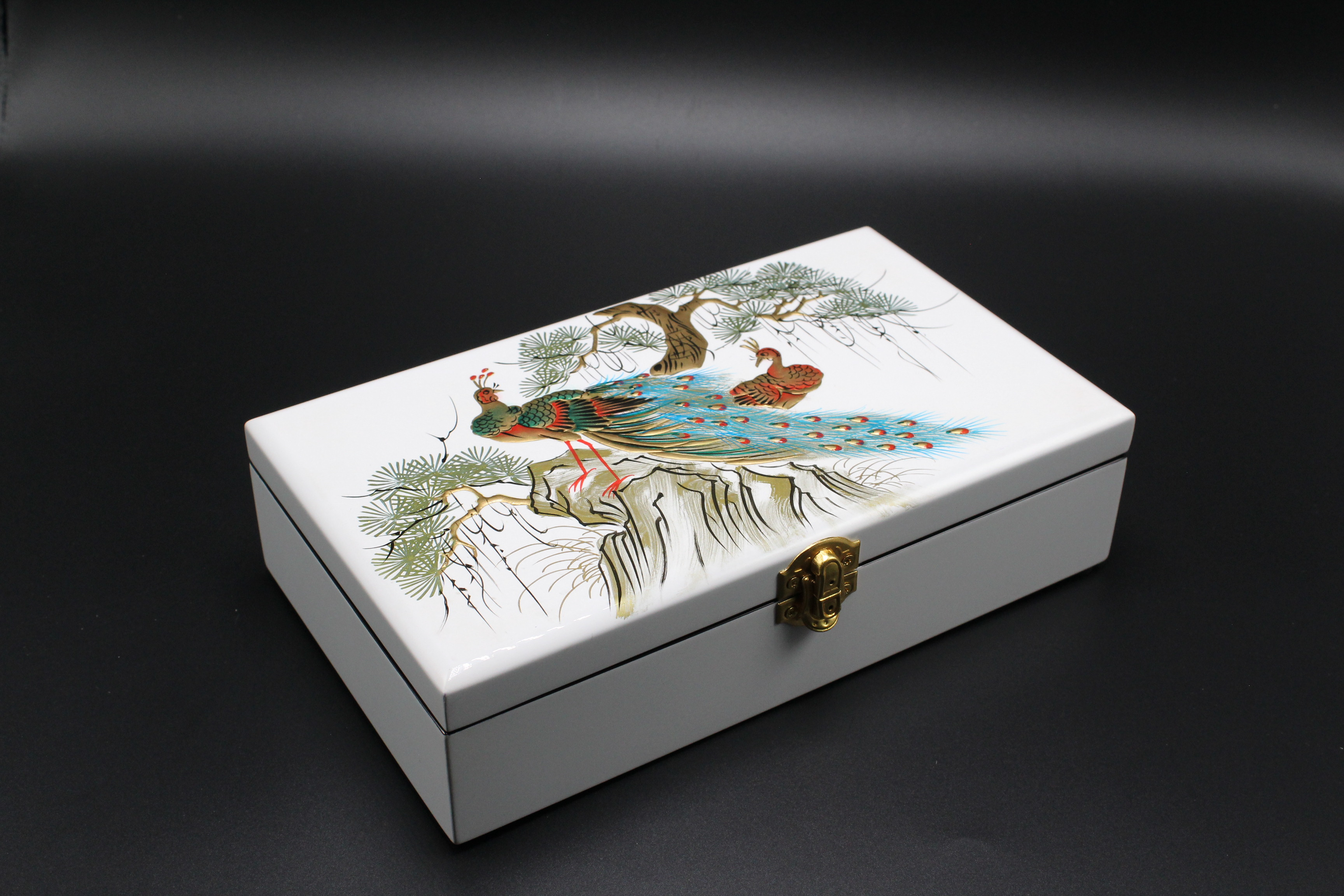 Peacock and Cedrus tree Painting in white Surface Lacquer Jewellery Box MNV-SPCC015