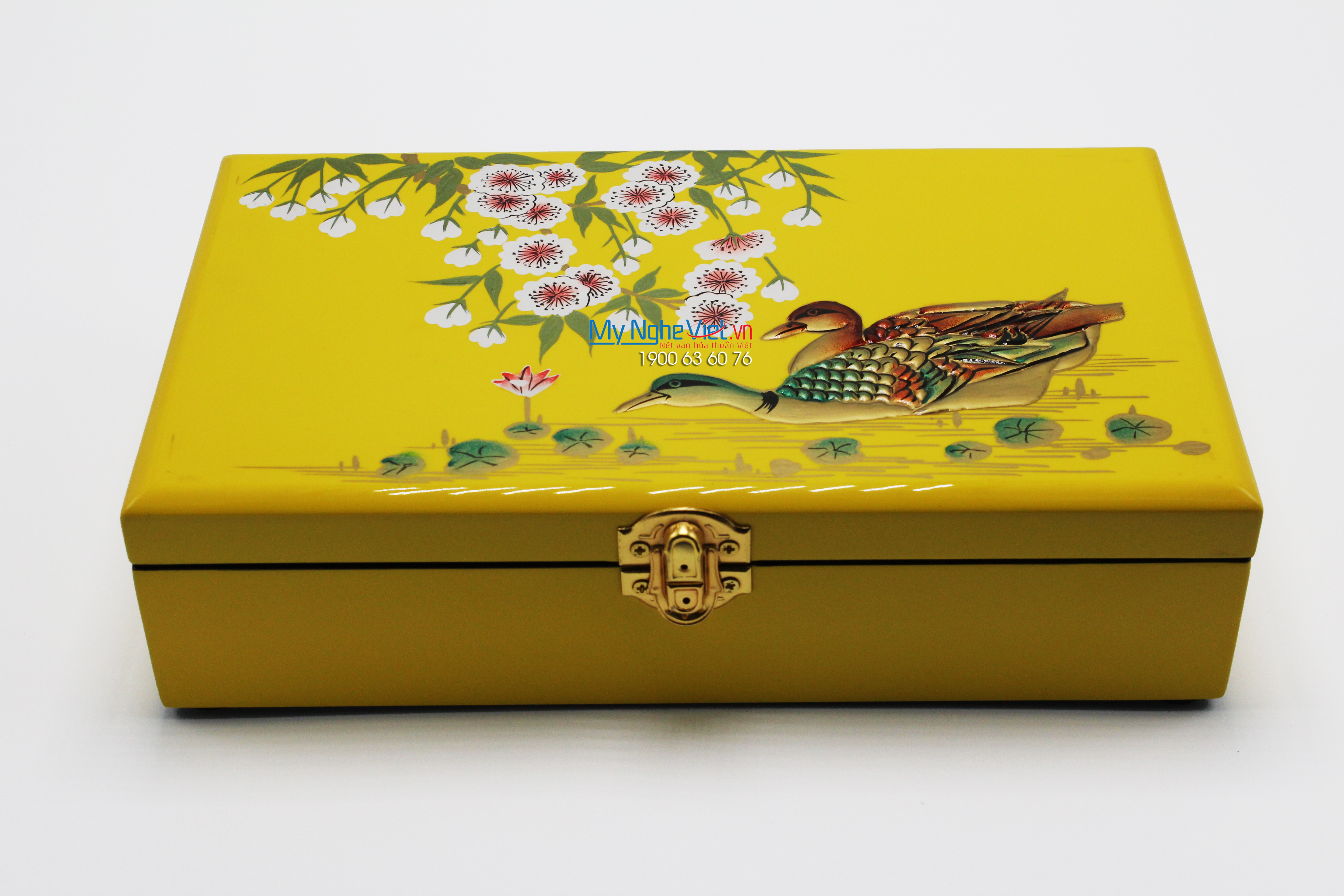 Duck painting on the gold surface jewellery box MNV-SPCC013