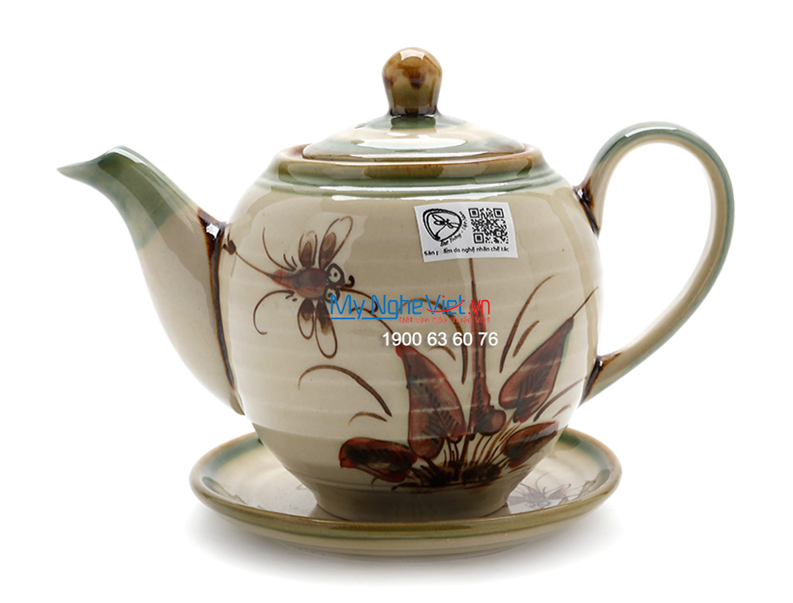 Bat Trang Tea set with Glossy Glaze, Dragonfly Pattern and Pottery Strap MNV-TS029-3
