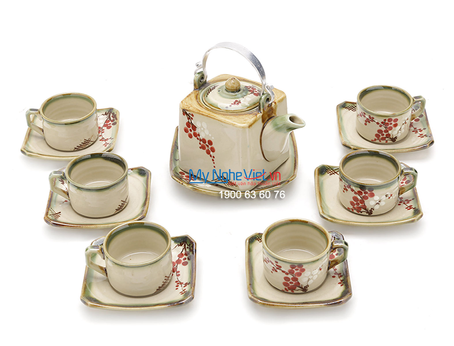 Bat Trang Tea Set with Glossy Square Glaze, Peach Blossom Pattern, and Aluminium Strap MNV-BT256
