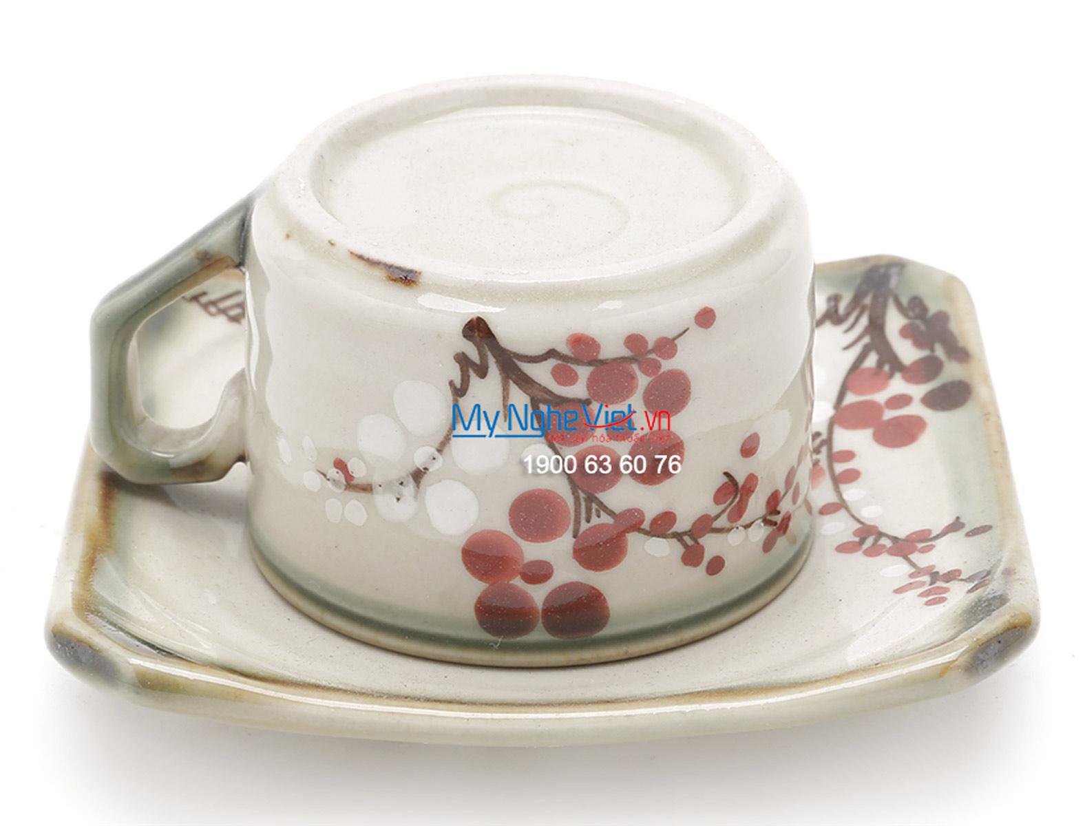 Bat Trang Tea Set with Glossy Square Glaze, Peach Blossom Pattern, and Aluminium Strap MNV-BT256
