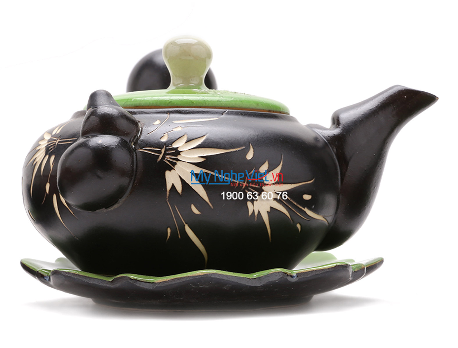 Bat Trang Tea set with Bamboo Pattern for Japanese Tea MNV-TS020