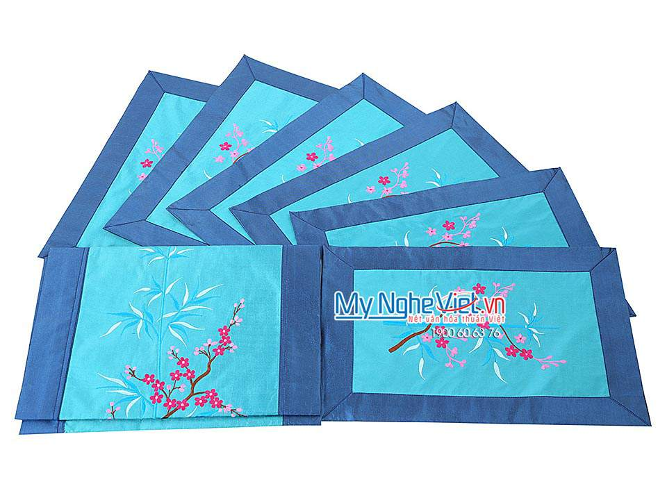 BLUE SILK TABLECLOTH SET (LONG)- MNV-KLTB14