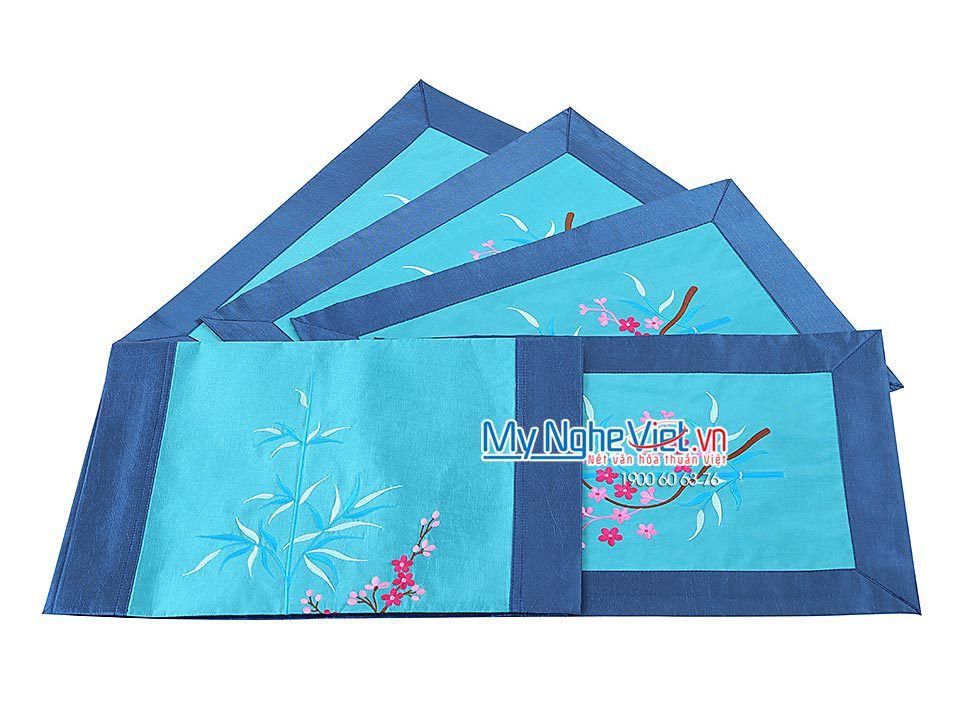 BLUE SILK TABLECLOTH SET (SHORT)- MNV-KLTB06