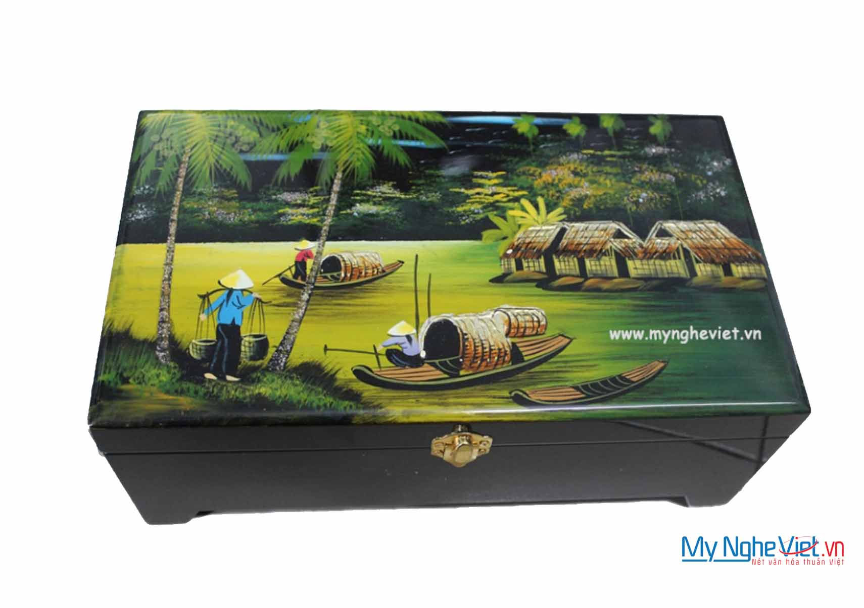 Countryside Landscape Lacquer Painting Jewellery Box MNV-HTN34