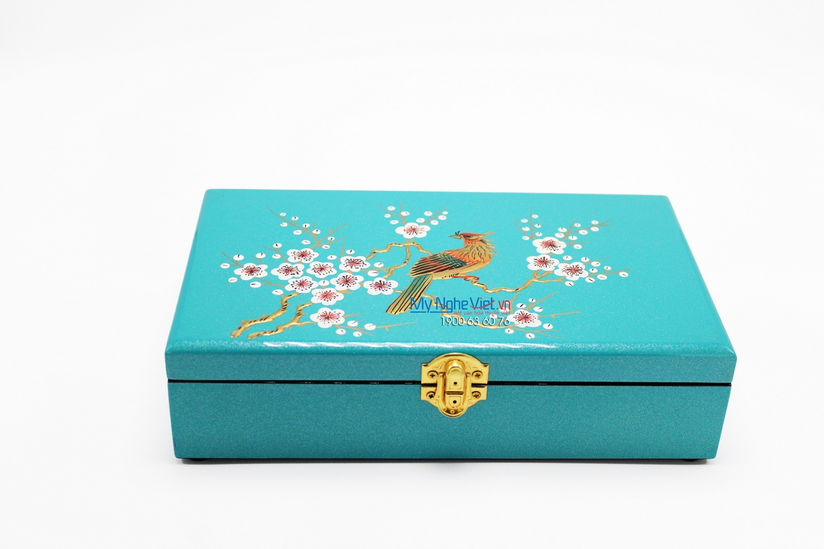 Jewellery Box with Painting of Bird on Peach tree and Blue background MNV-SPCC019-1