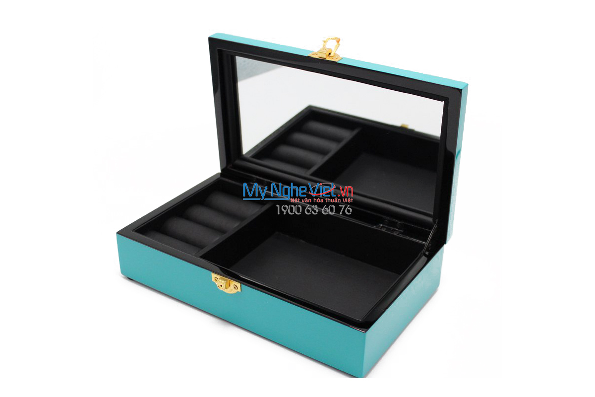 Lacquer Jewellery Box with Chrysanthemum on Blue background MNV-SPCC016-1