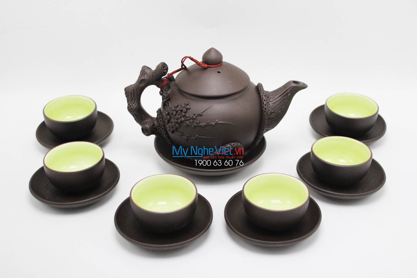 Tea set with black cedrus tea pattern - MNV-TS044/3