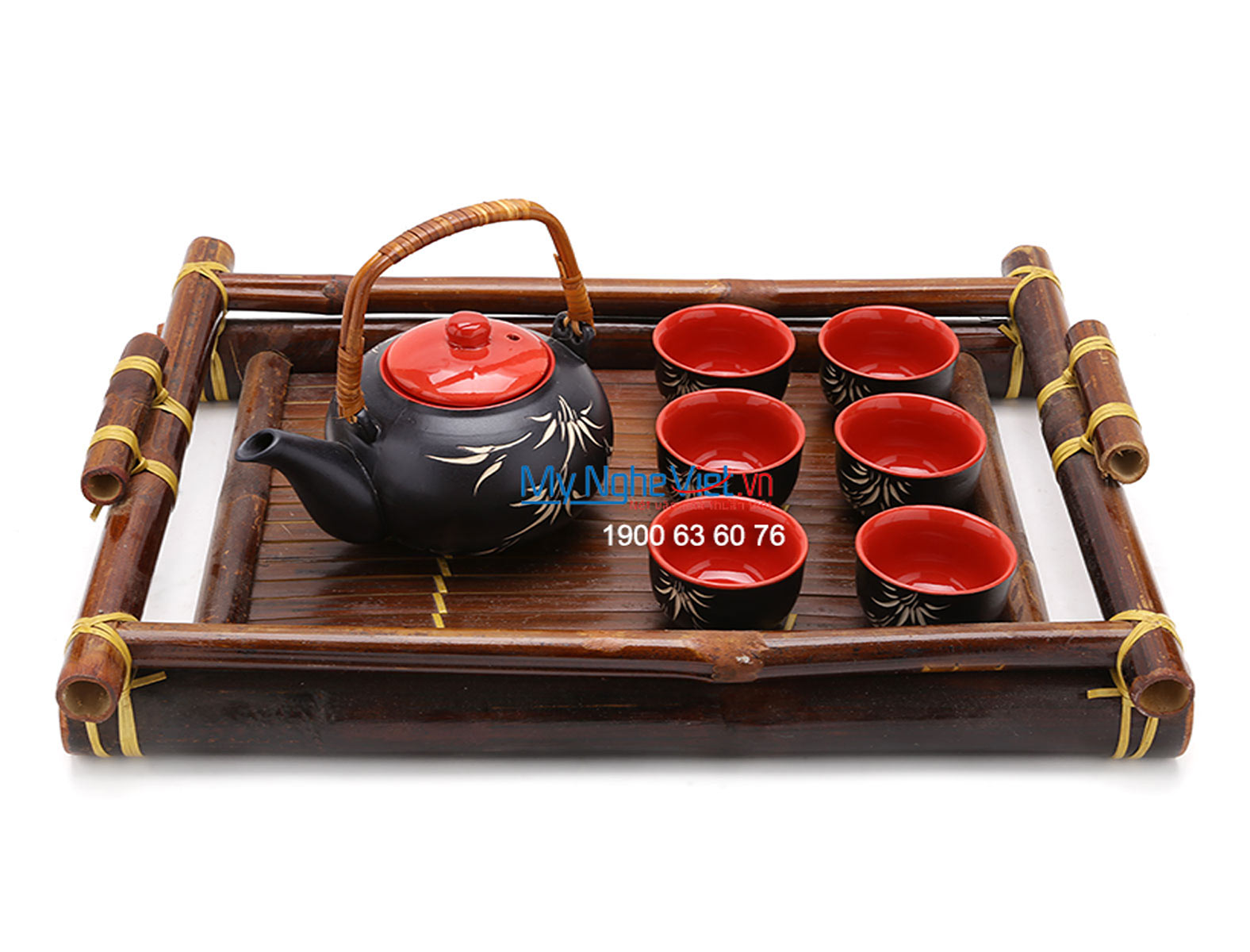 Bat Trang Tea set with Bamboo Pattern and Bamboo Tray MNV-TS062