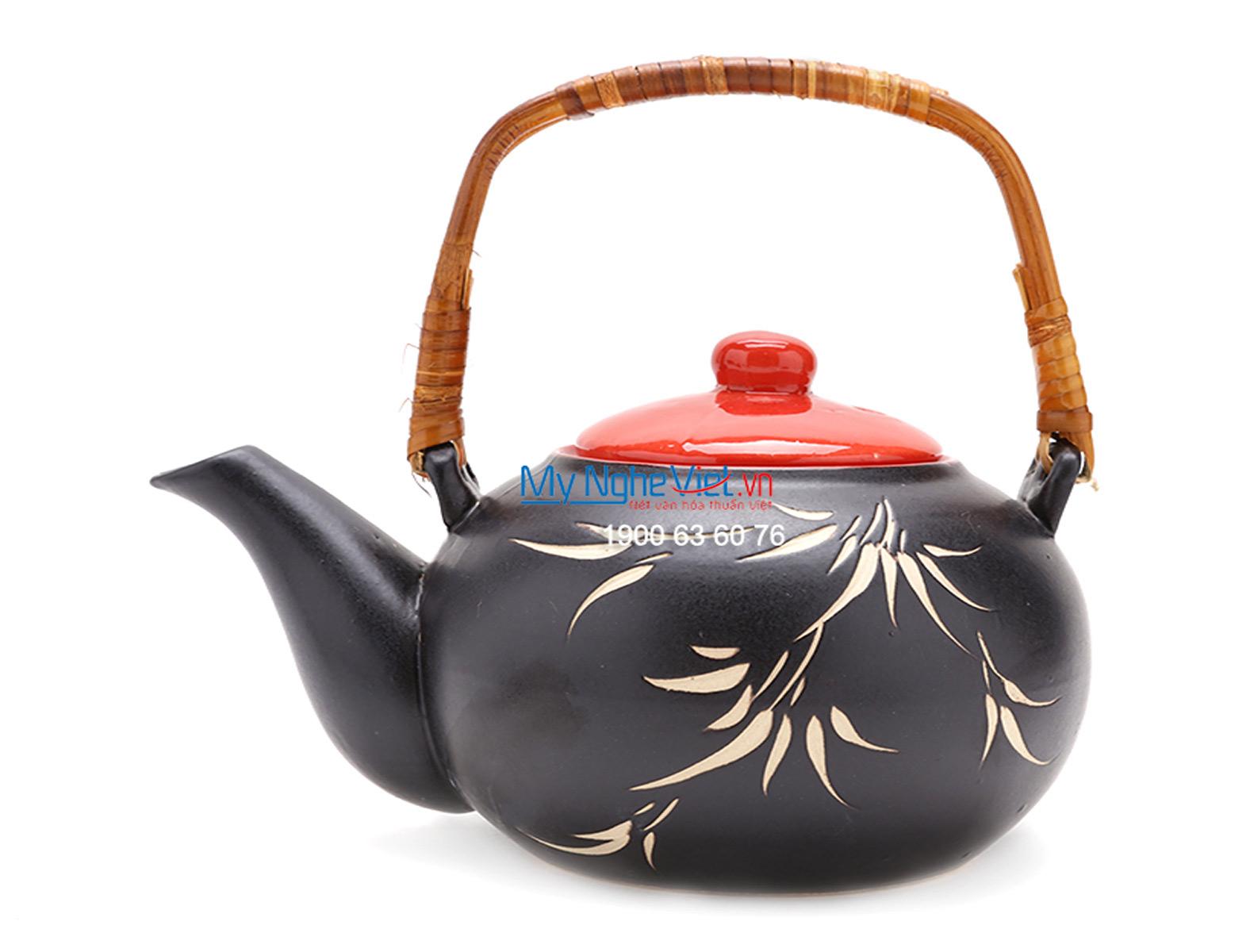 Bat Trang Tea set with Bamboo Pattern and Bamboo Tray MNV-TS062