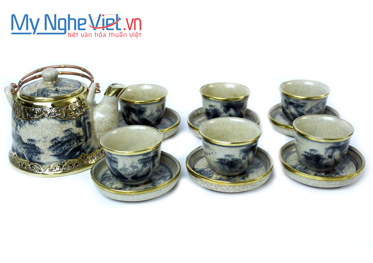 Tea set with crackle glaze and covered bronze MNV-TS157
