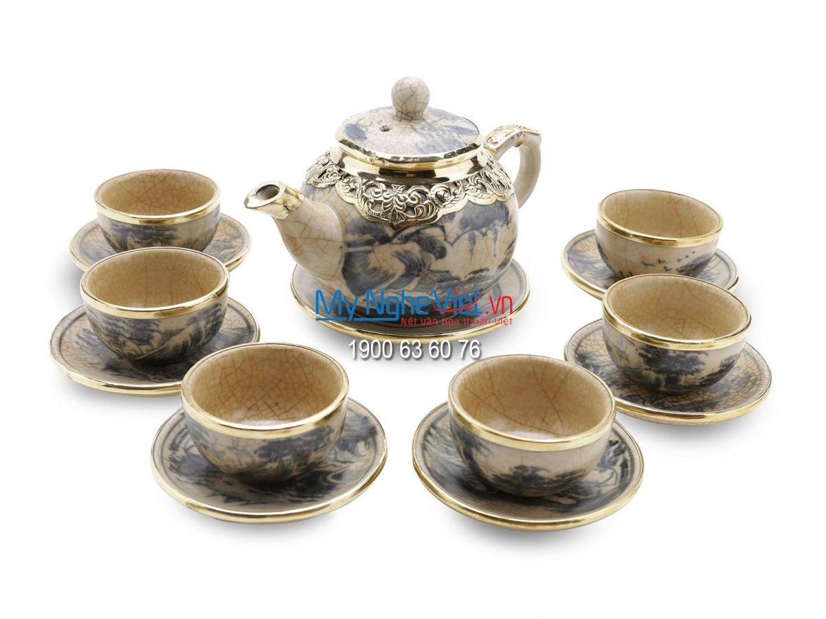 Tea set with crackle glaze and covered bronze MNV-TS003