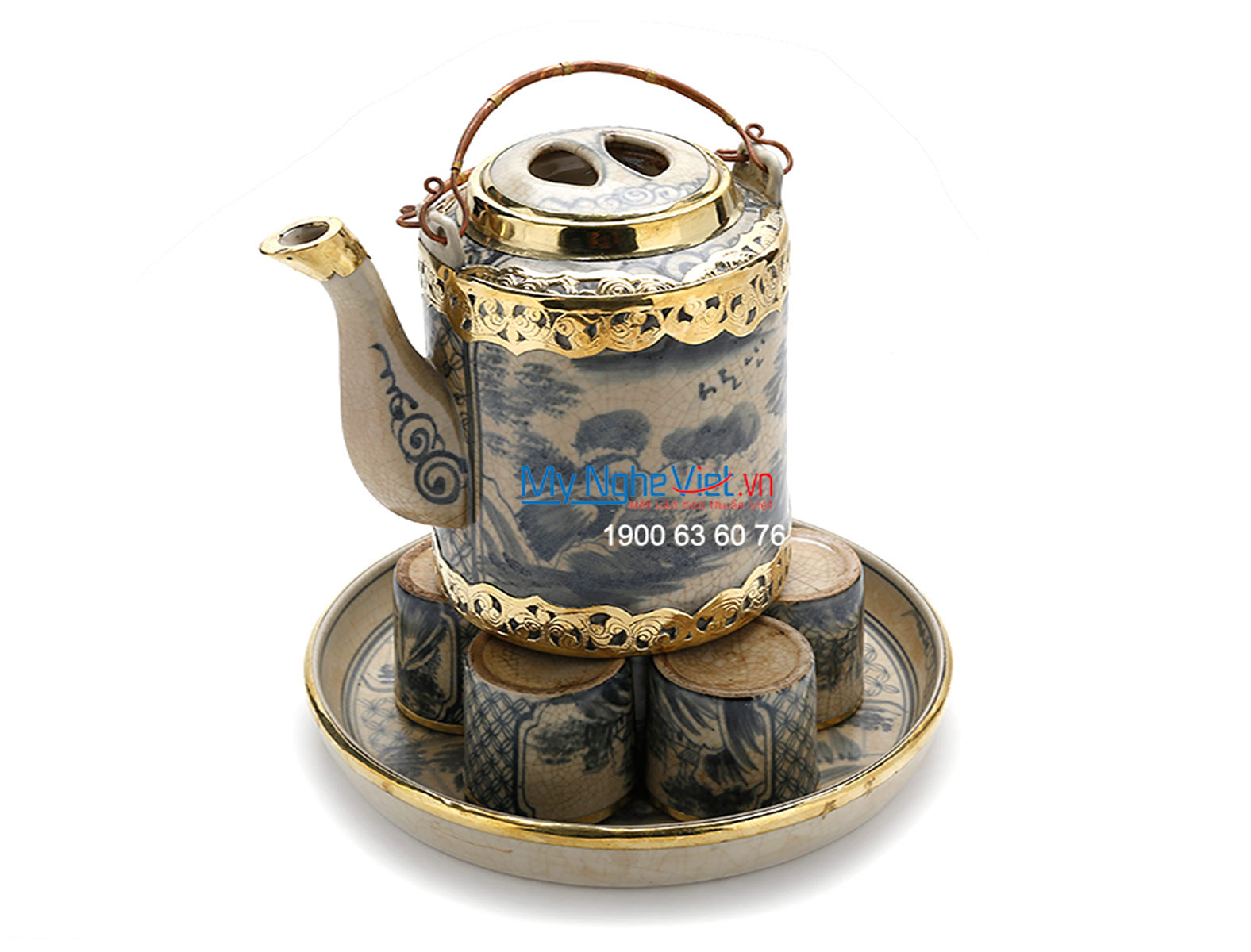 Tea set with crackle glaze and covered bronze MNV-TS457