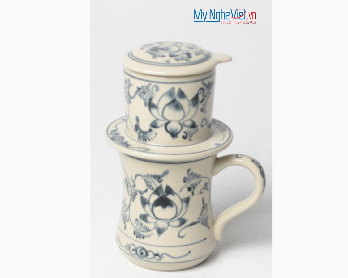 Pottery Coffee Filter with Blue Lotus Pattern MNV-CFC05
