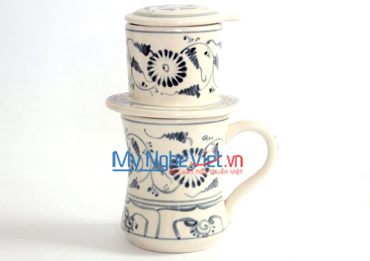 Pottery Coffee Filter (Dripper) with Green Chrysanthemum Pattern MNV-CFC04