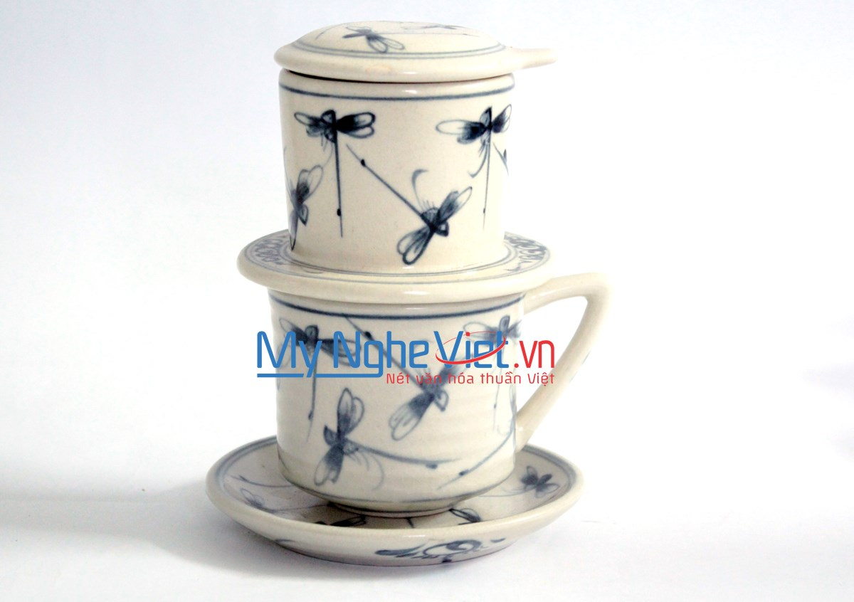 Pottery Coffee Filter (Dripper) with Blue Dragonfly Pattern (with saucer) MNV-CFT002/1