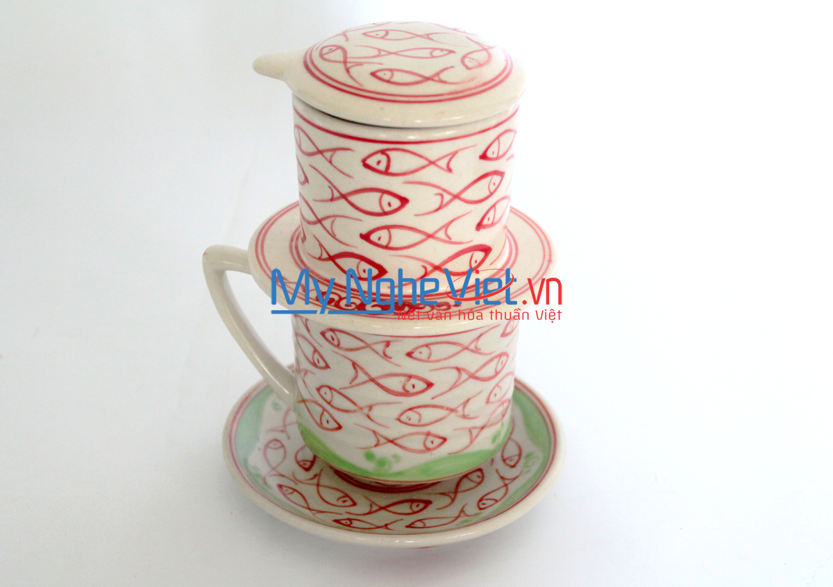 Pottery Coffee Filter (Dripper) with Red Fish Pattern (with saucer) MNV-CFT004