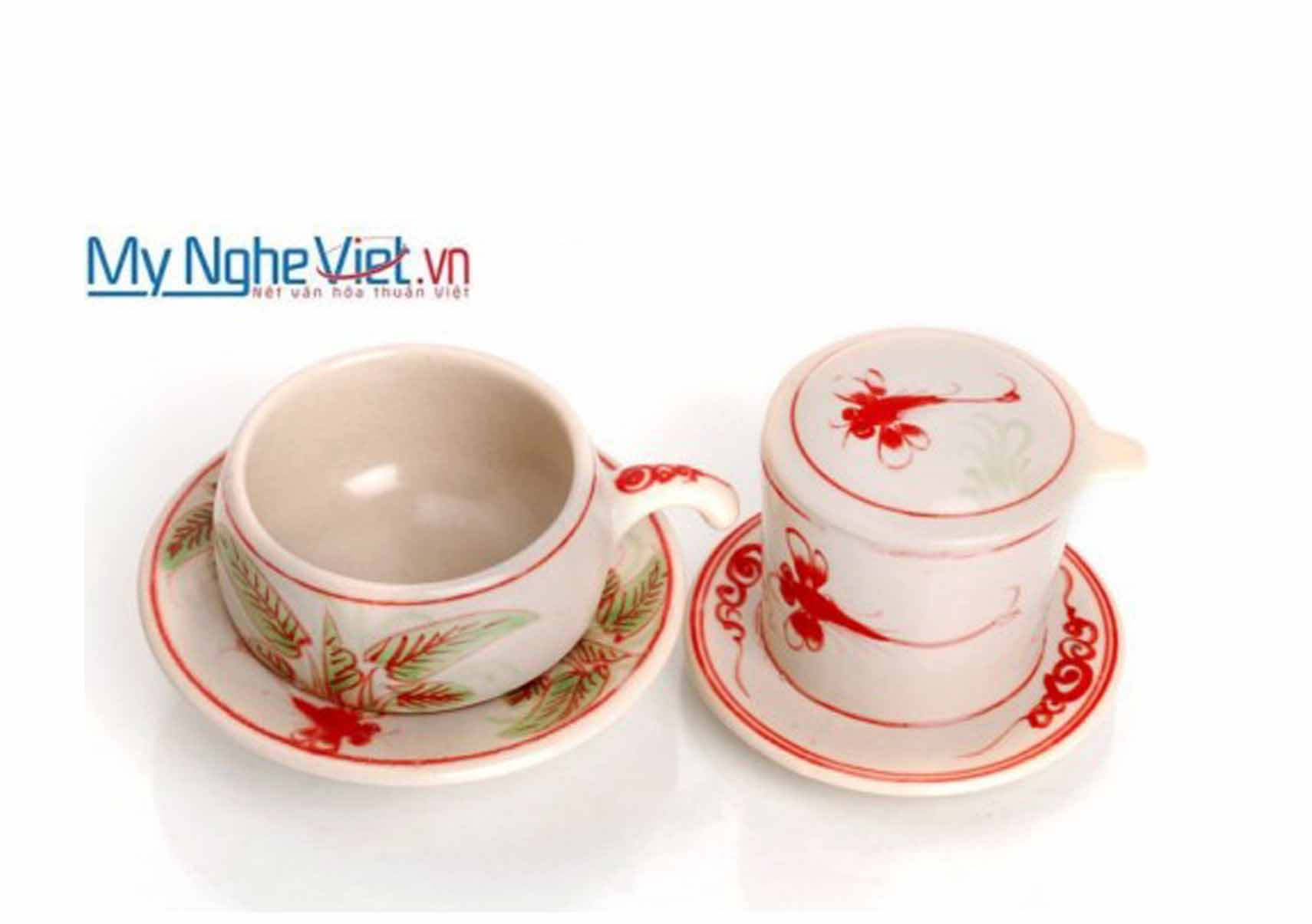 Pottery Coffee Filter (Dripper) with Red Dragonfly Pattern (low) MNV-CF003/1