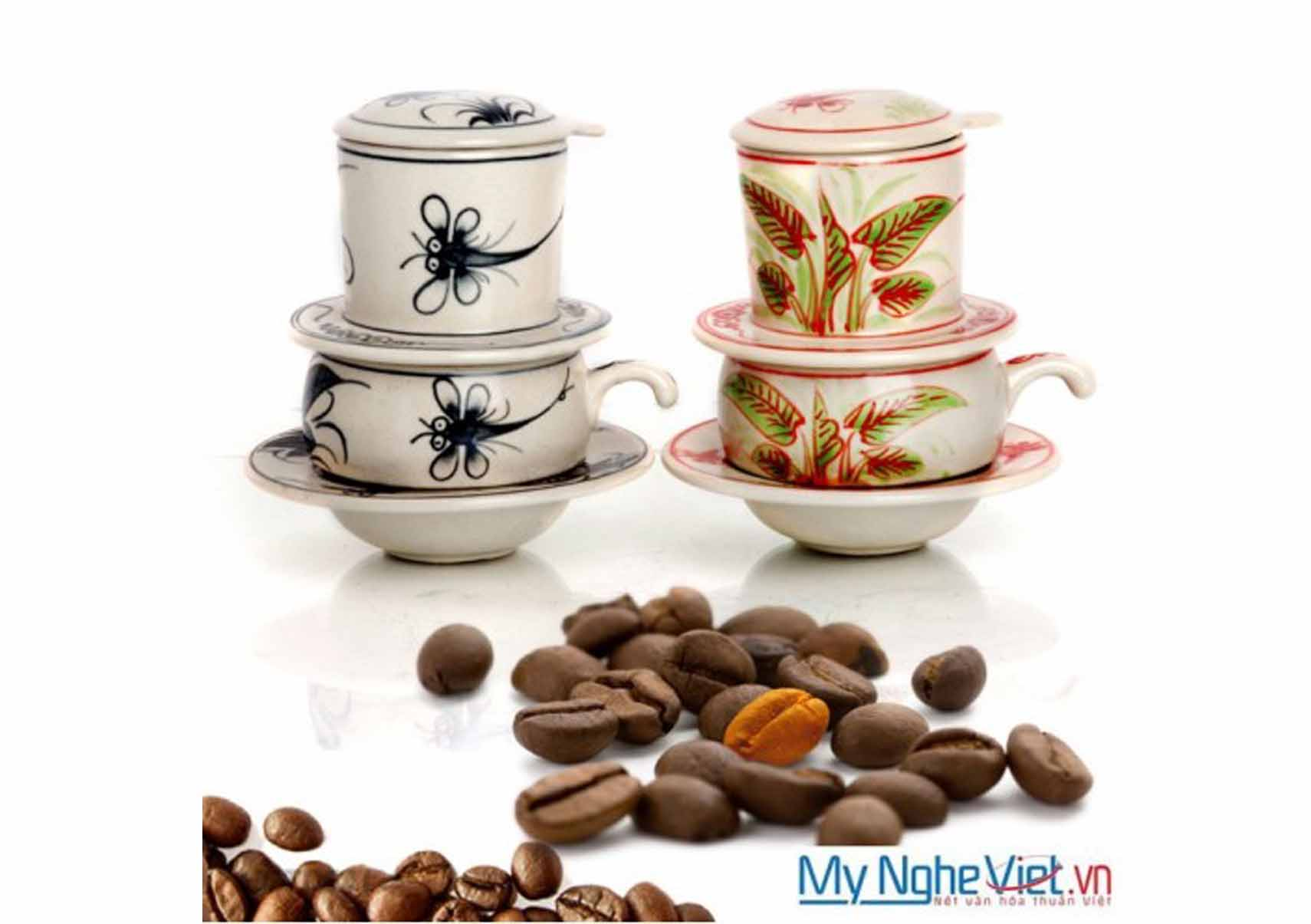 Dragonfly and daisy pattern ceramic coffee filter with short cups MNV-CF003
