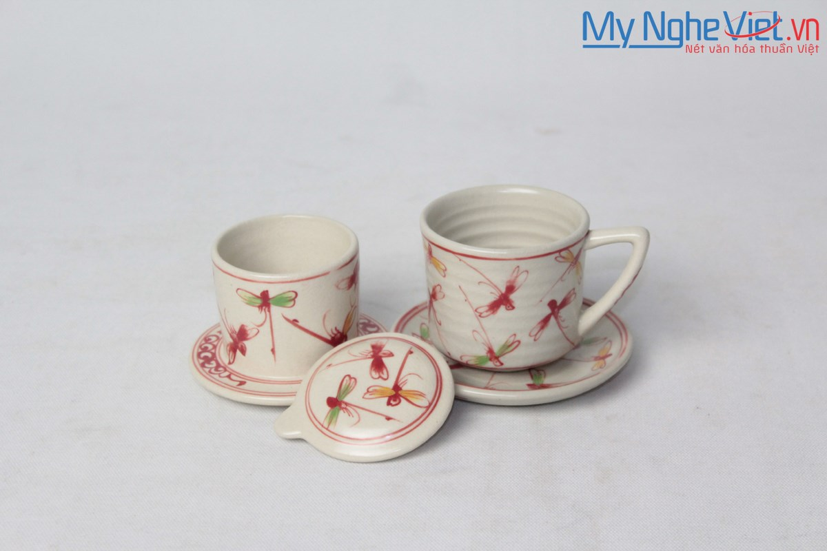 Pottery Coffee Filter (Dripper) with Red Dragonfly Pattern (with saucer) MNV-CFT006