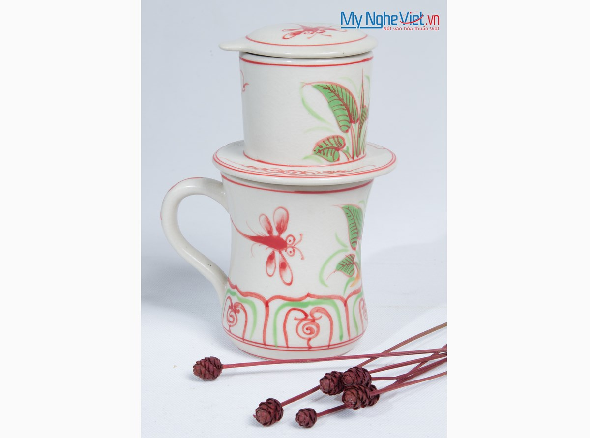 Pottery Coffee Filter (Dripper) with Red Dragonfly Pattern MNV-CFC01