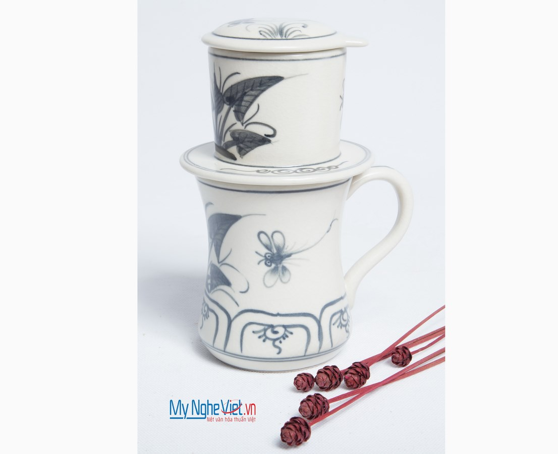 Pottery Coffee Filter with Blue Dragonfly Pattern MNV-CFC03