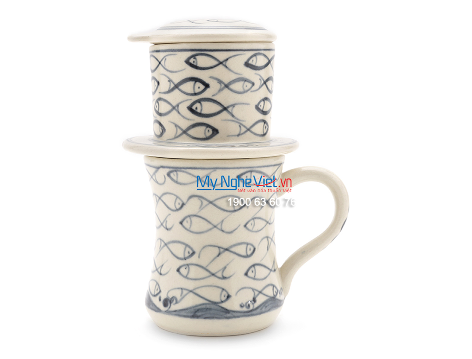 Pottery Coffee Filter with Blue Fish Pattern MNV-CFC07