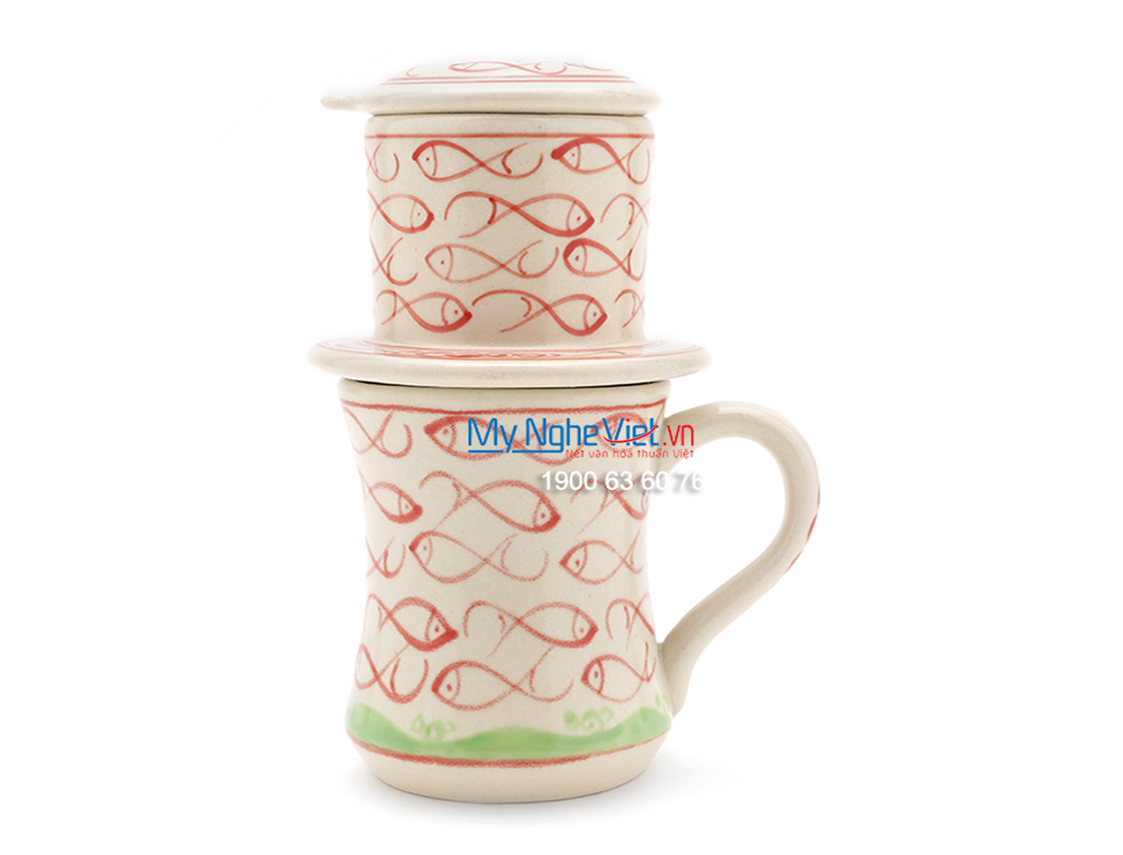 Pottery Coffee Filter (Dripper) with Red Fish Pattern MNV-CFC09