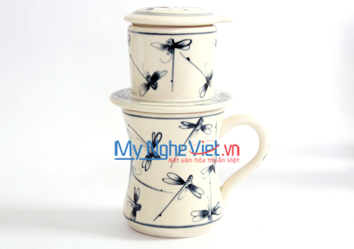 Pottery Coffee Filter with Blue Dragonfly Pattern MNV-CFC06