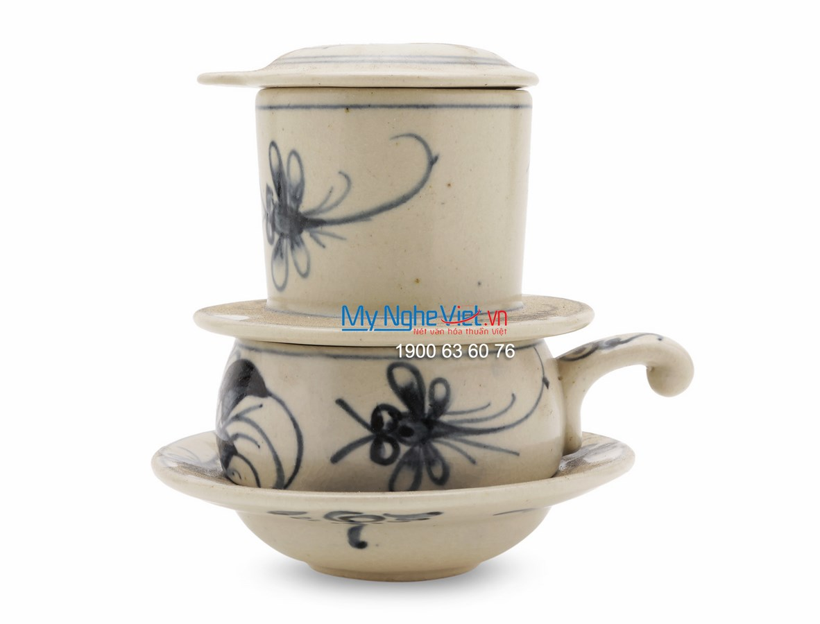Pottery Coffee Filter (Dripper) with Blue Dragonfly Pattern (low) MNV-CF003/1