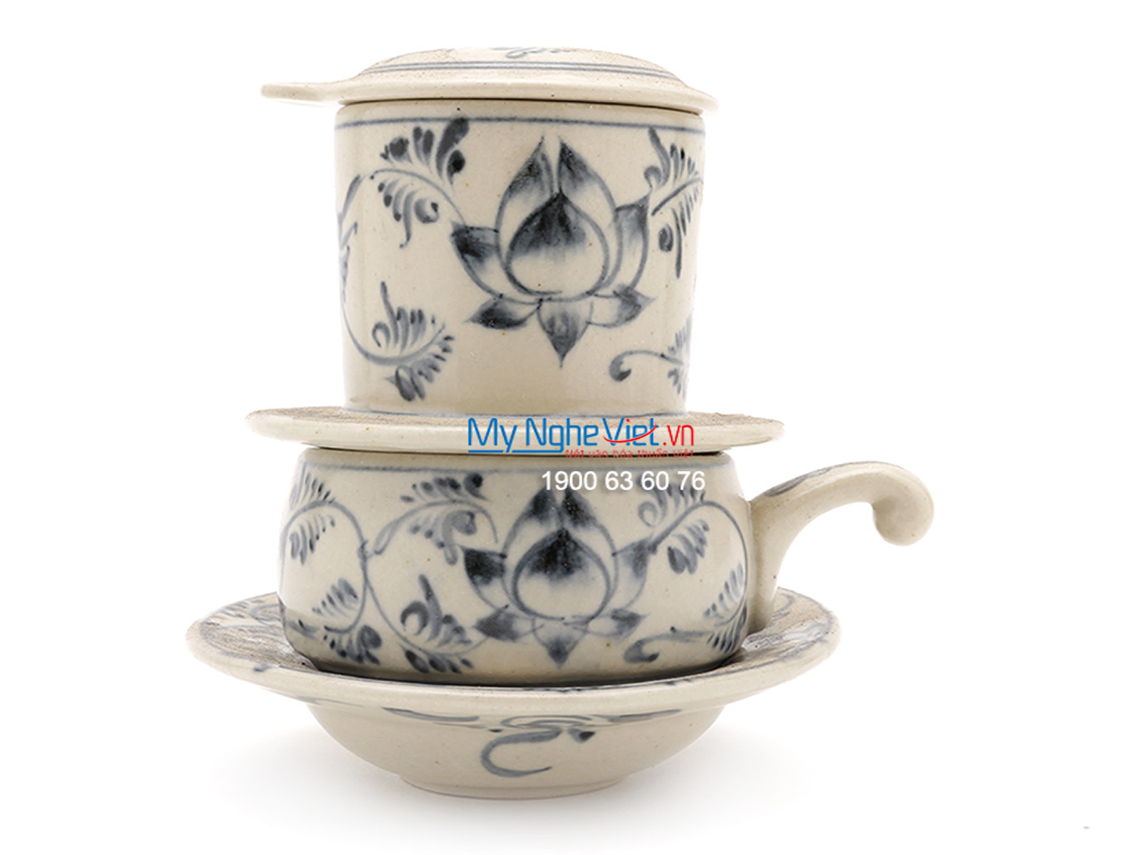 Pottery Coffee Filter with Blue Lotus Flower Pattern (low) MNV-CF004/1