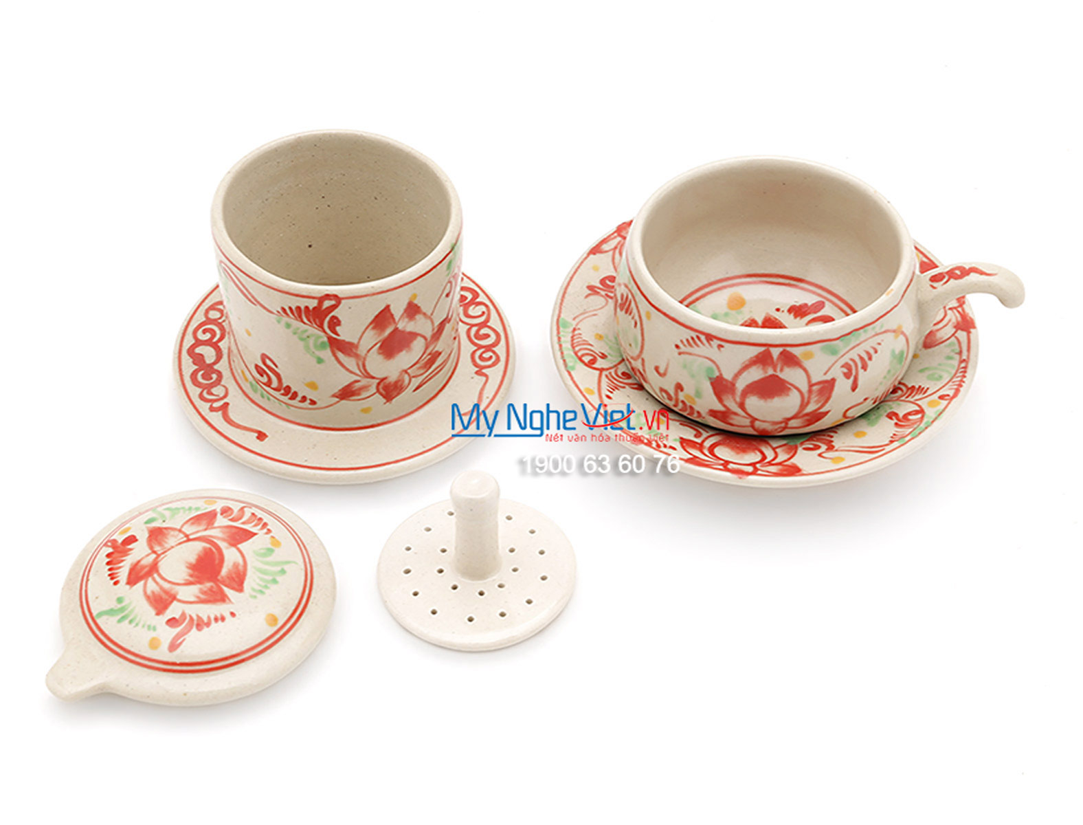 Pottery Coffee Filter with Red Lotus Flower Pattern (low) MNV-CF004/2