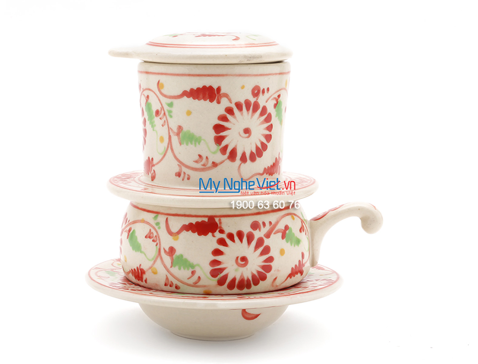 Pottery Coffee Filter with Red Chrysanthemum Pattern (low) MNV-CF005/2