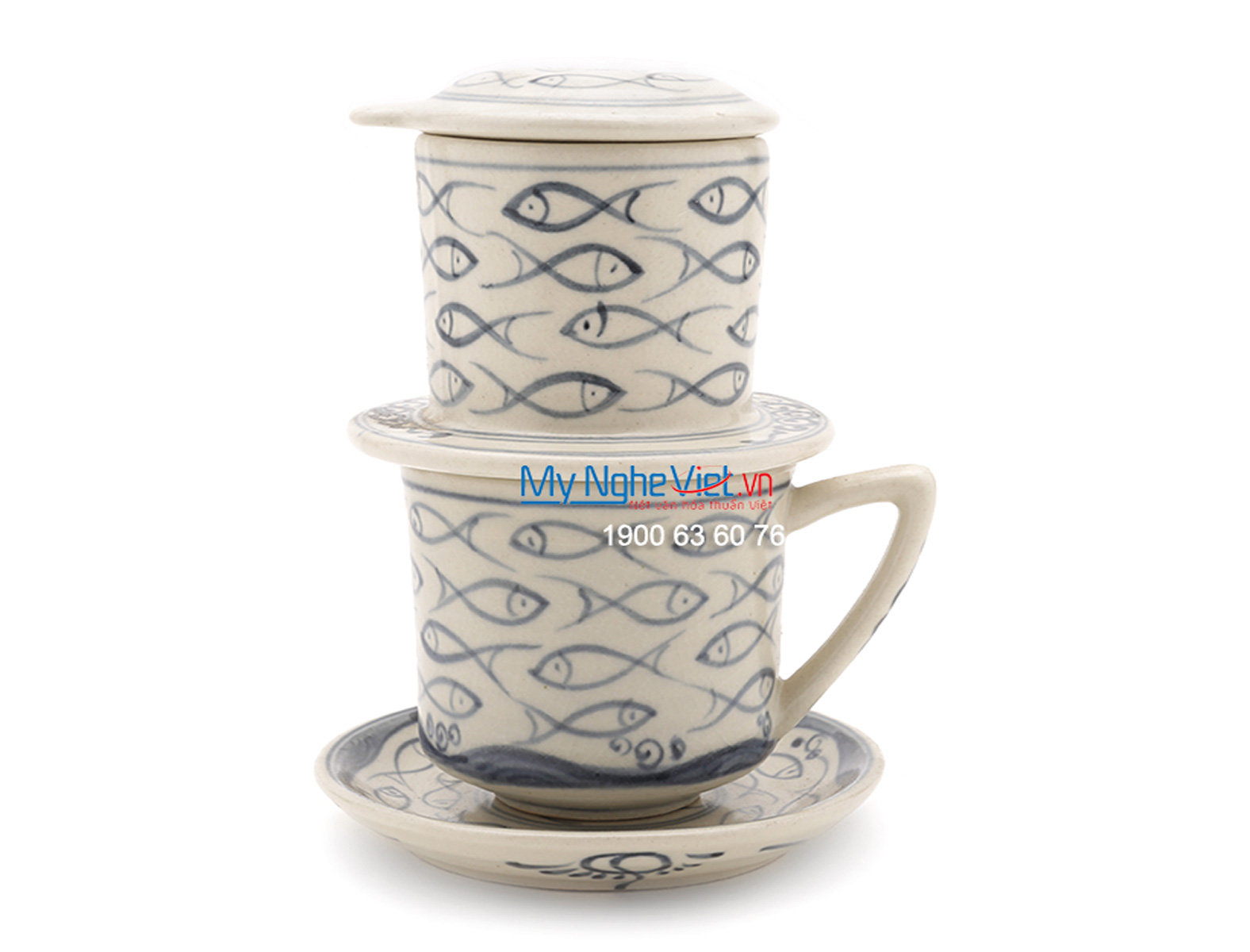Pottery Coffee Filter with Blue Fish Pattern (with saucer) MNV-CFT003