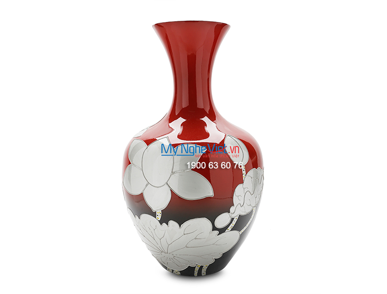 Red Vase with Lotus Flower Pattern MNV_LHK54