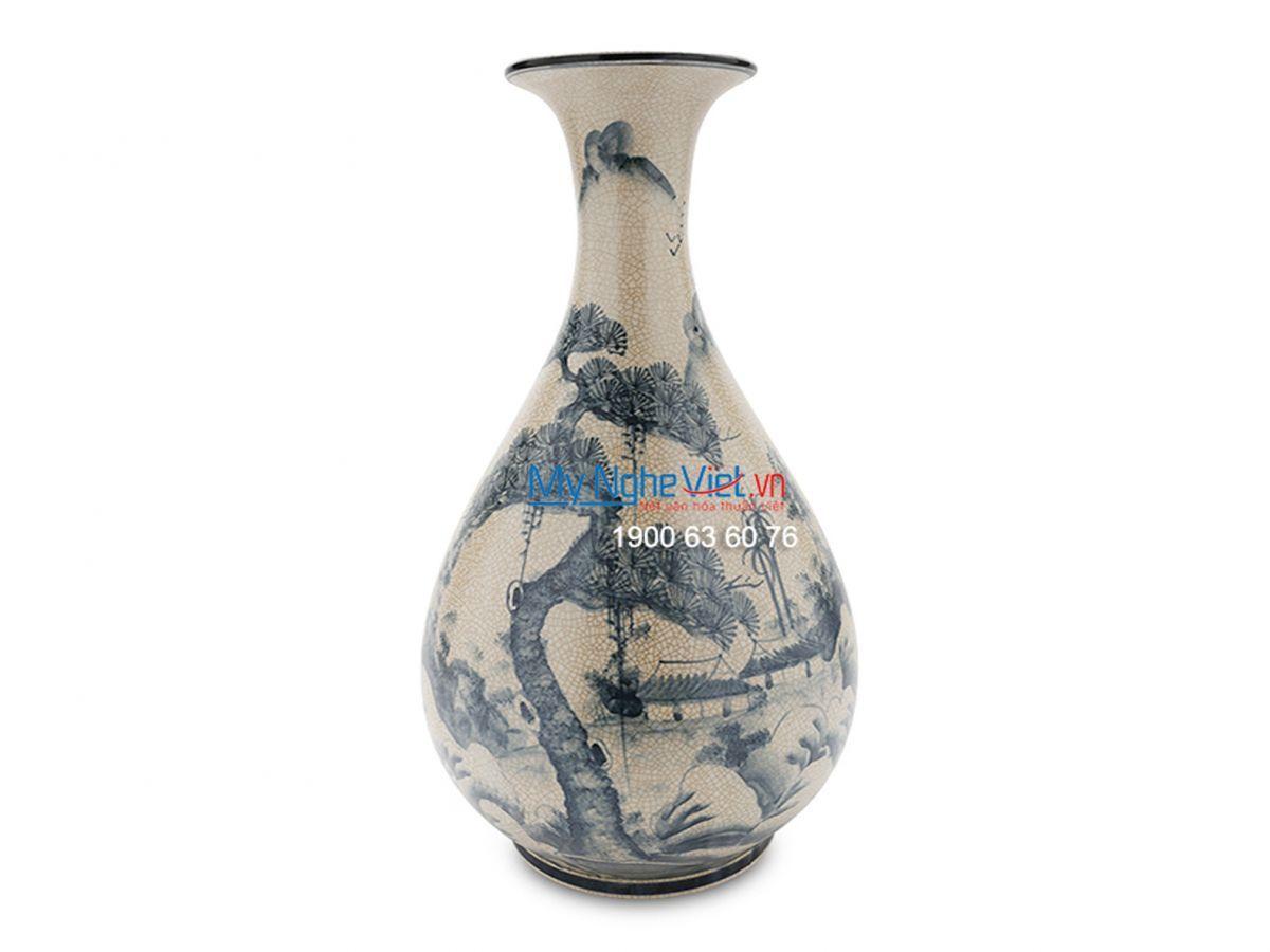 Pottery Floral Vase with Landscape Pattern MNV-LH617