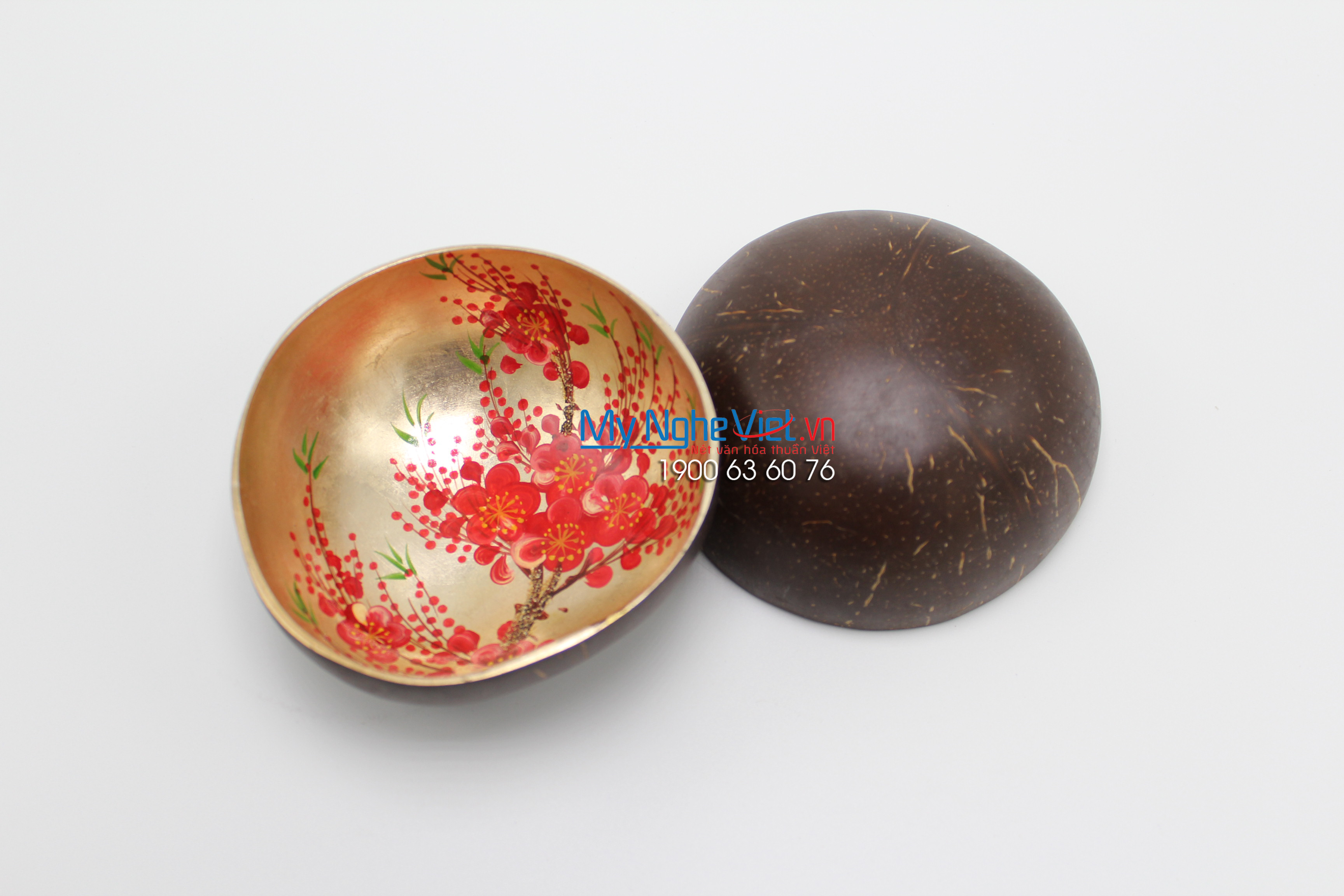 Peach Blossom Lacquer Painting Coconut Cup MNV-CDSM05