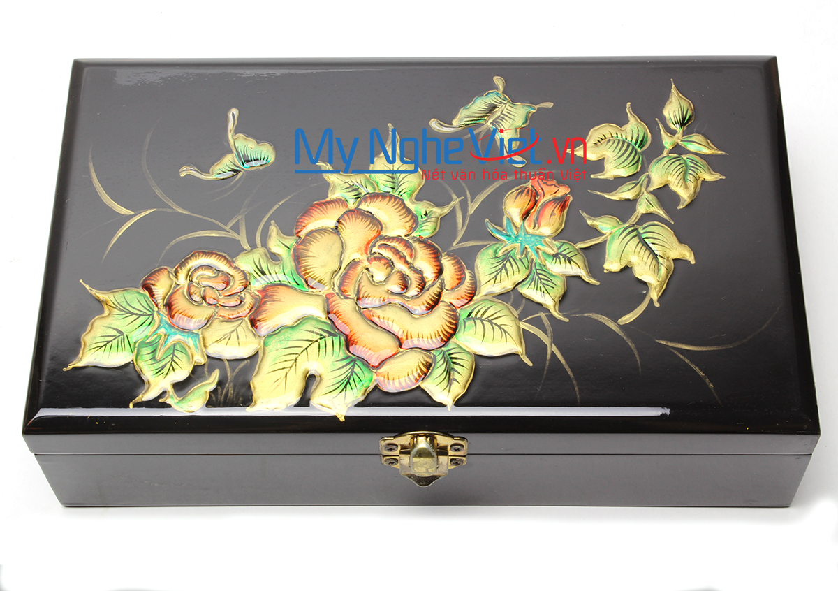 Rose Lacquer Painting Jewellery Box MNV-SMA471