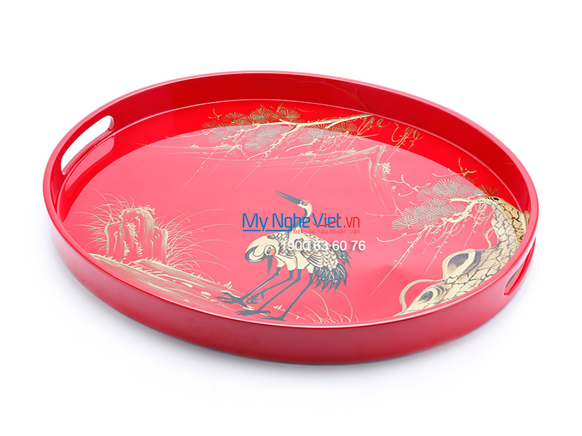 A Pair of Crane and  Cedrus tree Lacquer Painting Oval Tray  MNV-KOV01