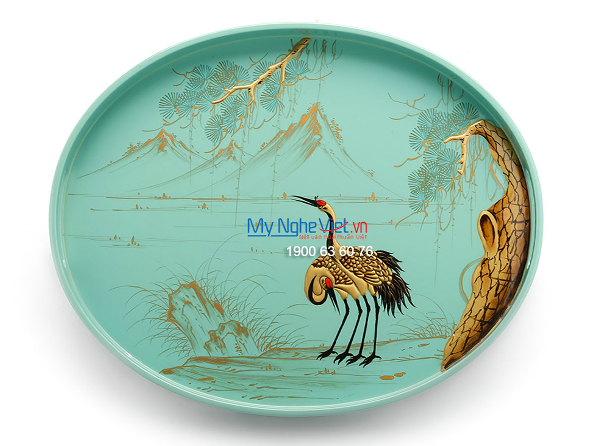 A Pair of Crane and  Cedrus tree Lacquer Painting Oval Tray MNV-KOV02