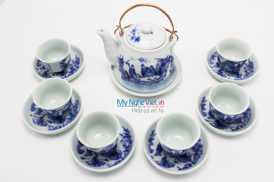 Bat Trang Tea set with Glossy Glaze and Eight Elves Painting MNV-TS510