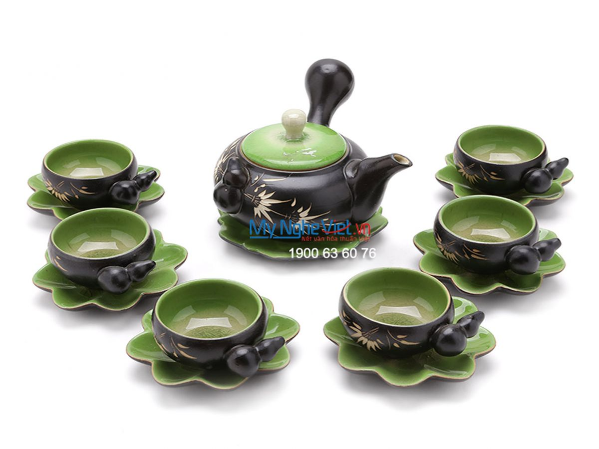 Bat Trang Tea set with Bamboo Pattern for Japanese Tea MNV-TS020