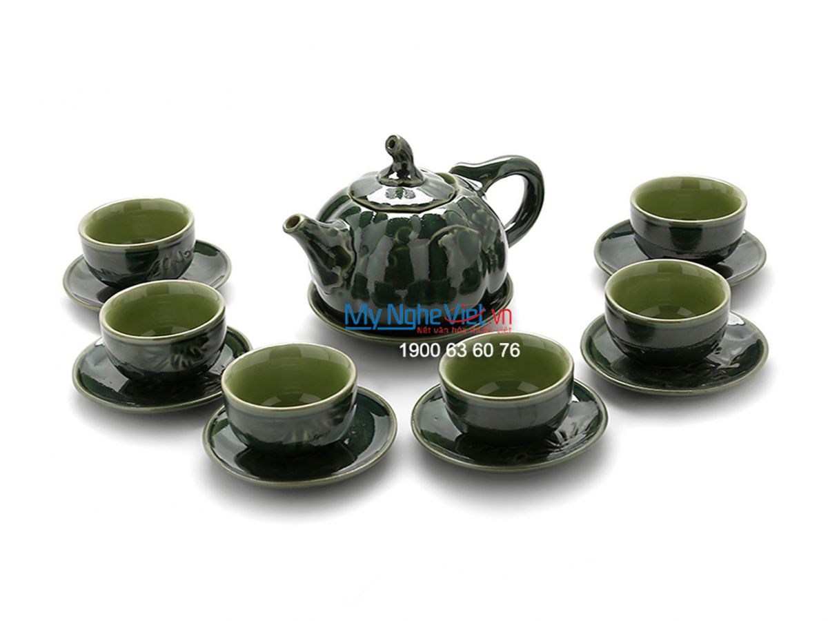 Bat Trang Tea set with Glossy Glaze and Green Pumpkin Pattern MNV-TS486