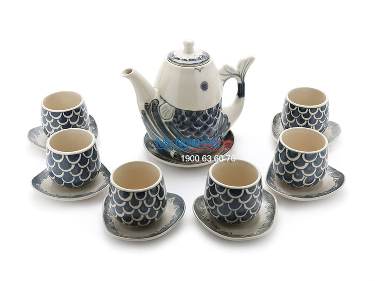 Bat Trang Tea set with Fish Painting (high) MNV-TS474